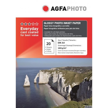 Hartie AGFA A4 glossy single side 180g/mp cu 20 coli/pachet.