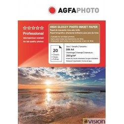 Hartie AGFA A4 RC (resin coated, microporoasa) high glossy single side 260g/mp pachet 20 coli