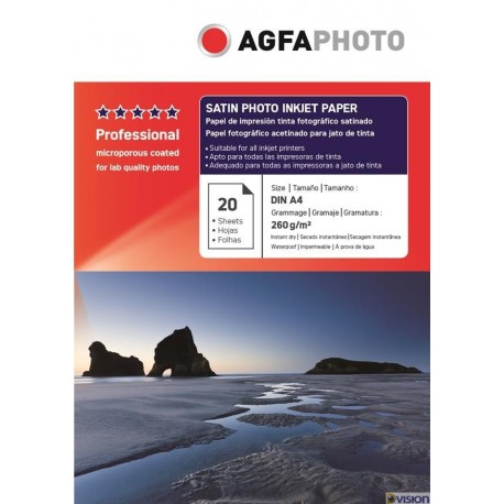 Hartie AGFA A4 RC (resin coated, microporous) glossy single side 260g/mp pachet 20 coli