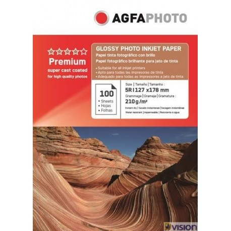 Hartie AGFA 5R (13x18) glossy single side 210g/mp pachet 100 coli