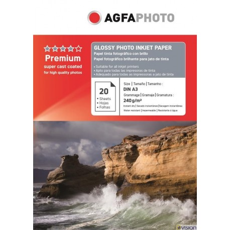 Hartie AGFA A4 glossy single side 240g/mp cu 20 coli/pachet.