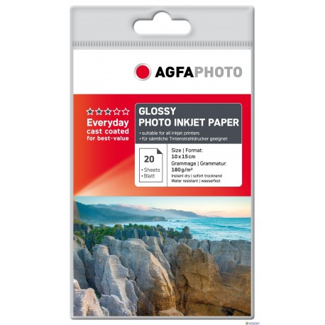 Hartie AGFA 4R (10x15) glossy single side 180g/mp pachet 100 coli