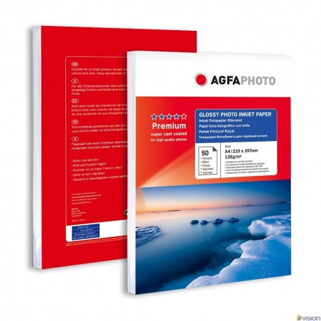 Hartie AGFA A4 glossy single side 135g/mp cu 50 coli/pachet.