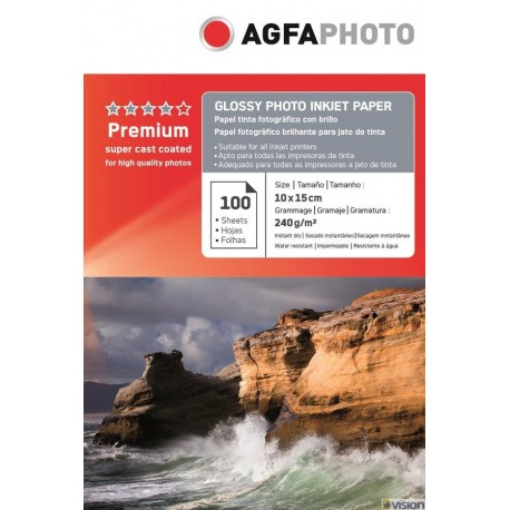 Hartie AGFA 4R (10x15) glossy single side 240g/mp pachet 100 coli